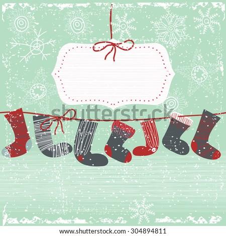 Vintage Christmas invitation card - stock vector
