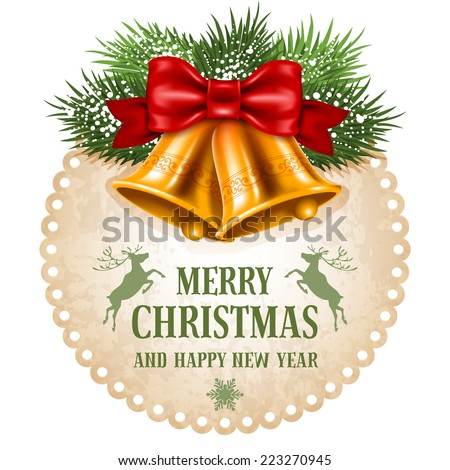 Vintage Christmas label with golden jingle bells. Vector illustration isolated on white background. - stock vector
