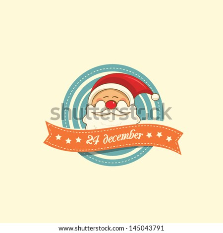 Vintage christmas label with Santa Claus - stock vector
