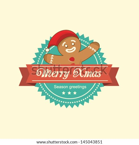 Vintage christmas label with the gingerbread man - stock vector