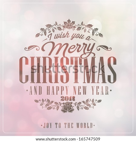 Vintage Christmas Light Vector Background With Typography, Card Or Invitation - stock vector