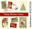 Vintage Christmas postage set - stock vector