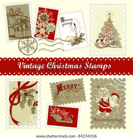 Vintage Christmas postage set - stock vector