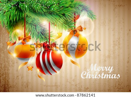 Vintage christmas poster. - stock vector