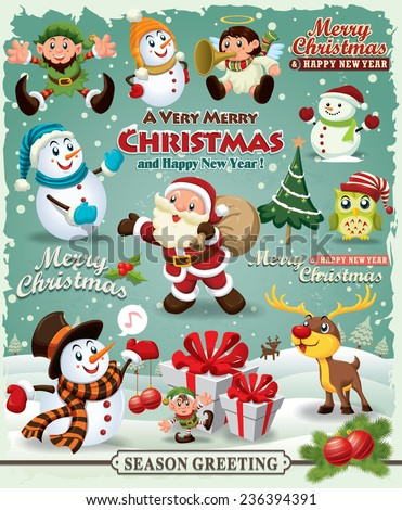 Vintage Christmas poster design Christmas design element