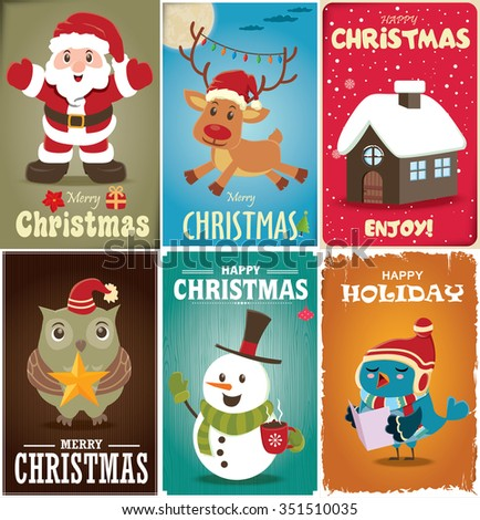 Vintage Christmas poster design set - stock vector