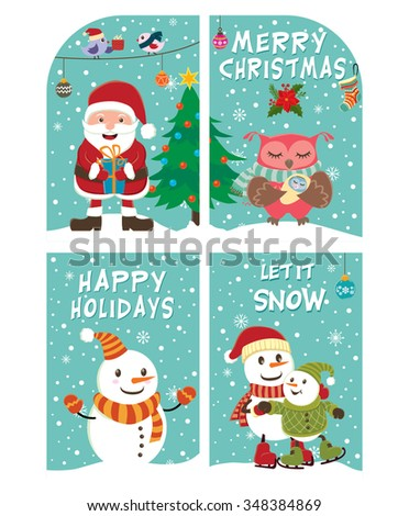 Vintage Christmas poster design with Santa Claus