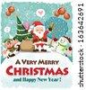 Vintage Christmas poster design with Santa Claus, elf & snowman  - stock