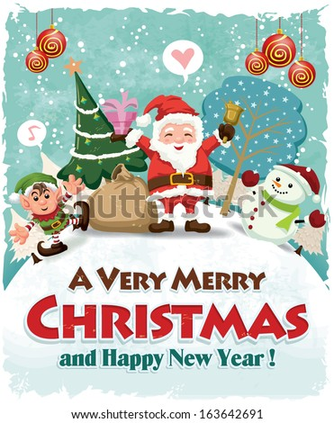 Vintage Christmas poster design with Santa Claus, elf & snowman  - stock vector