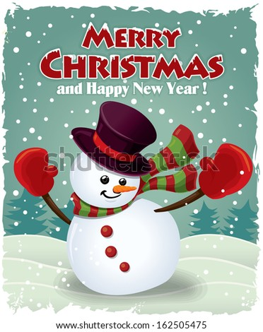 Vintage christmas poster design with snowman - stock vector