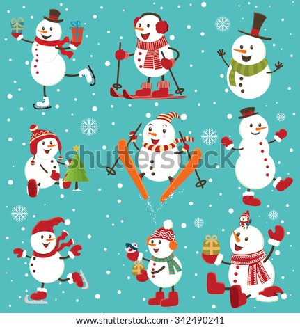 Vintage Christmas poster design with snowman set - stock vector
