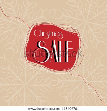 Vintage Christmas sale label with thread and snowflakes background - stock vector