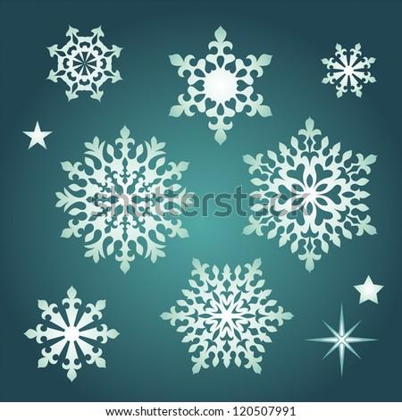 vintage Christmas snowflakes - stock vector