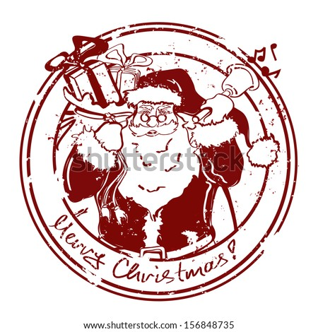 Vintage Christmas stamp with Santa Claus - stock vector