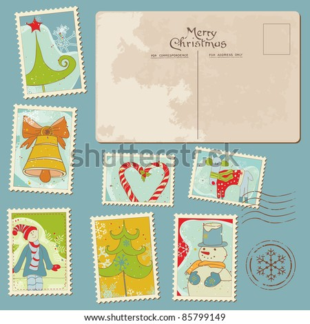Vintage Christmas Stamps and Postcard - for scrapbook, design, invitation, greetings - stock vector