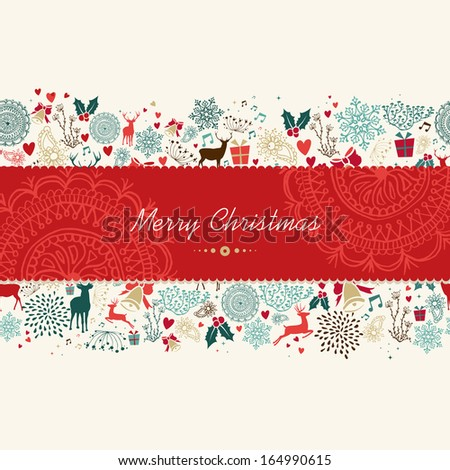 Vintage Christmas symbols greeting card seamless pattern banner background. EPS10 vector file organized in layers for easy editing. - stock vector
