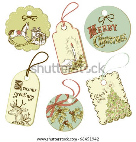Vintage Christmas tags - stock vector