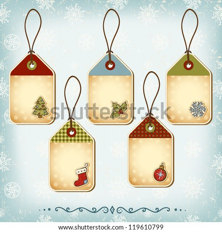 Vintage Christmas tags set. Seamless pattern background - stock vector
