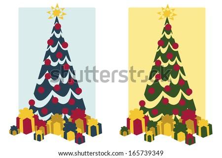 Vintage Christmas Tree - stock vector