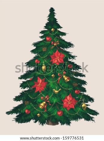 vintage christmas tree art greeting card poster banner vector illustration - Vintage Christmas Trees