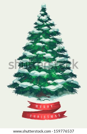 Vintage Christmas Tree Art Greeting Card Poster Banner Vector Illustration