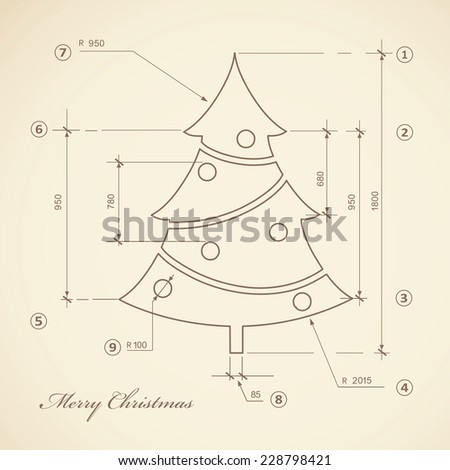 Vintage Christmas tree sketch on old paper - stock vector