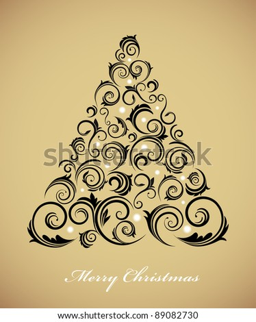 Vintage Christmas tree with retro ornaments - stock vector