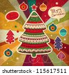 Vintage Christmas vector card with tree - stock vector