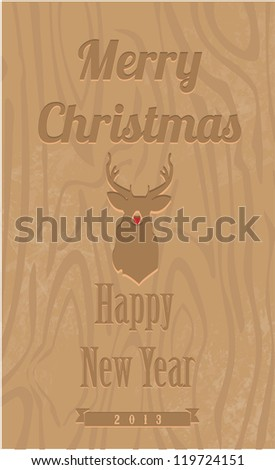 Vintage Christmas wood background - stock vector