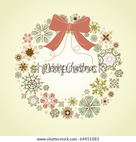 Vintage Christmas wreath - stock vector