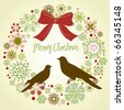 Vintage Christmas wreath and two birds - stock vector