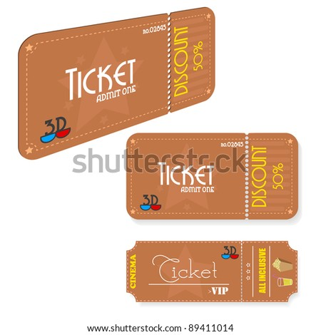 Vintage cinema tickets.Vector. - stock vector