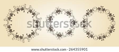 Vintage circle frames  - stock vector