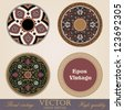 Vintage circle Frames and Borders design elements collection. Folklore vector Floral ornament. High Detailed. - stock vector