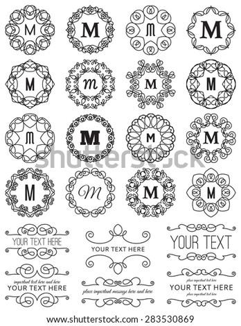 Vintage Circle Frames & Design Elements - stock vector