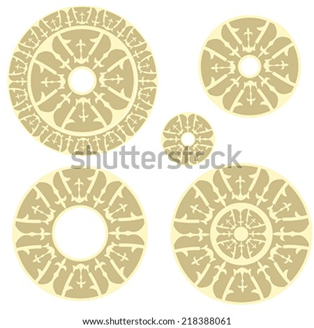Vintage circular ornamenst with  traditional elements of ancient Altai pattern. illustration, vector - stock vector