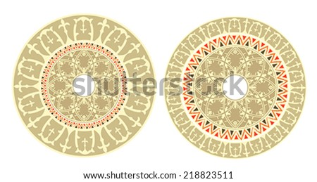 Vintage circular ornament with  traditional elements of ancient Altai pattern. illustration, vector - stock vector