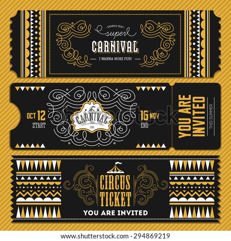 Vintage Circus banner collection. Ticket invitation. Vector illustration - stock vector