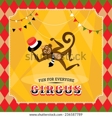 Vintage circus card with a monkey vector illustration - stock vector