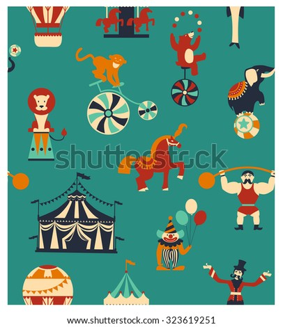 Vintage circus collection with carnival, fun fair, vector icons and background and illustration. Seamless pattern, circus background.  Vector flat illustration. - stock vector
