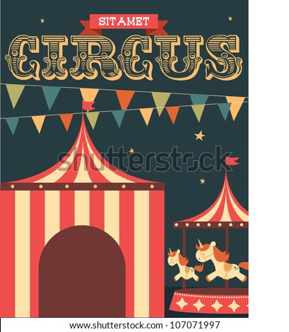 vintage circus poster template vector/illustration
