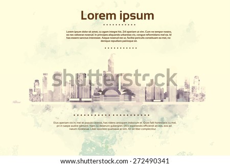 Vintage City Skyscraper View Cityscape Background Skyline with Copy Space Retro Style Design Card Vector Illustration - stock vector