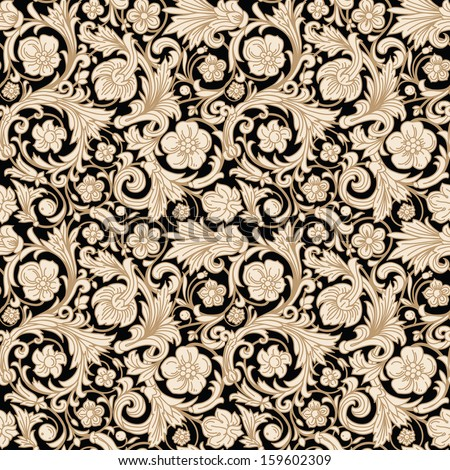 Vintage classic ornamental seamless vector pattern in baroque style. Stylized beige flowers, curls and leaves with a gold outline on a black background. Renaissance. - stock vector