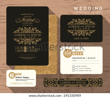 Vintage classic wedding invitation set design Template Vector place card response card save the date card - stock vector