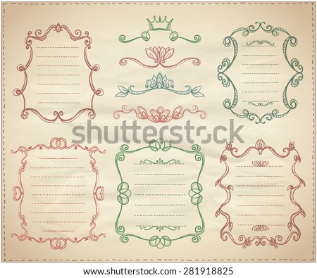 Vintage classical dividers and frame lists collection on a paper - stock vector
