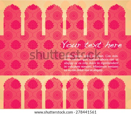 Vintage classical pink Asian lotus and mandala pattern banner with oriental temple gate borders - stock vector