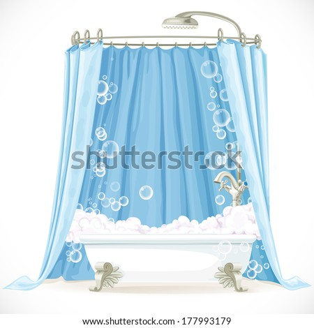 Vintage claw-foot bathtub and a curtain on the hoop - stock vector