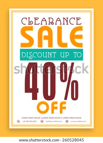 Vintage Clearance Sale with 40% discount offer, can be used as poster, banner or flyer design. - stock vector