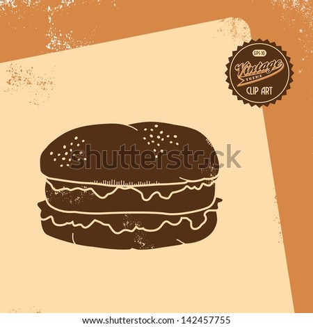 vintage clip art retro theme burger - stock vector