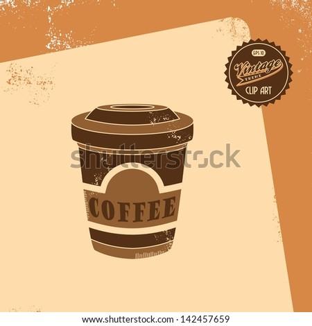 vintage clip art retro theme coffee - stock vector